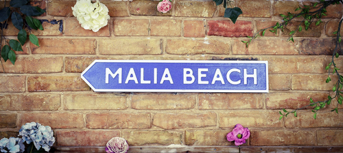 Malia Beach Road Sign Vintage Road Sign / Street Sign